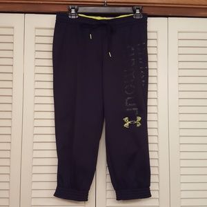 UNDER ARMOUR BLACK CROPPED SWEAT PANTS - NUC